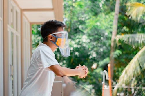 Man in White T-shirt Wearing Face Mask