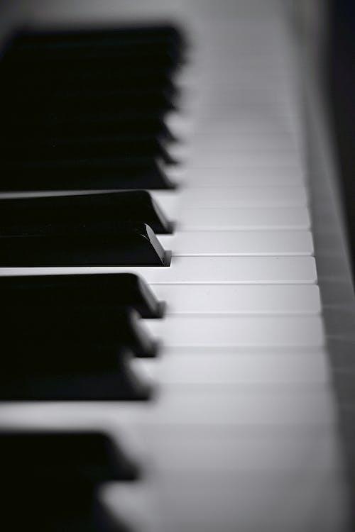 Gratis lagerfoto af klaver, klavertangenter, nøgler, sort og hvid