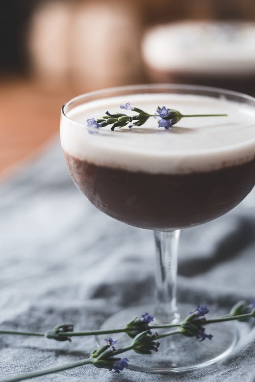 Photo Of Chocolate Dessert On A Glass With Lavender On Top