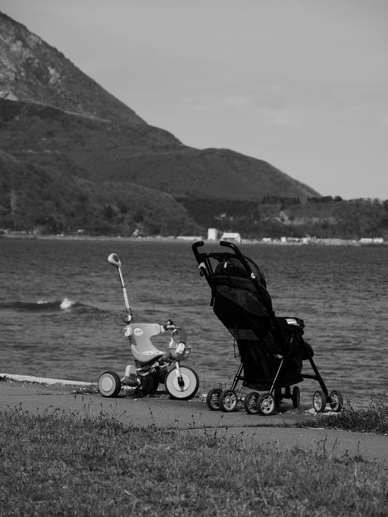 Baby carriage and bicycle on shore near lake and mountains