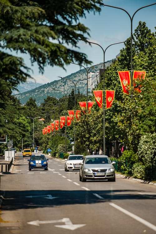 Driving autos on roadway between trees and bright flags
