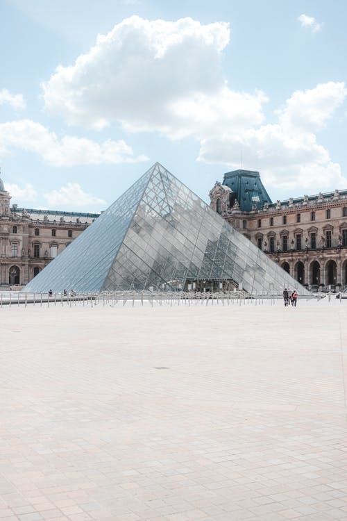 Exterior of landmark Louvre Pyramid on historical square