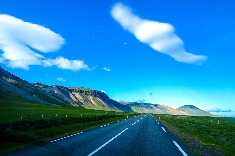 asphalt, blue sky, clouds
