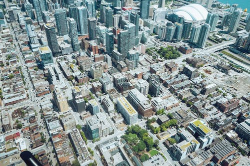 Aerial view of contemporary metropolis downtown