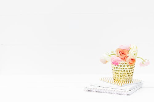 Pink and White Cupcake on White and Black Polka Dot Tray
