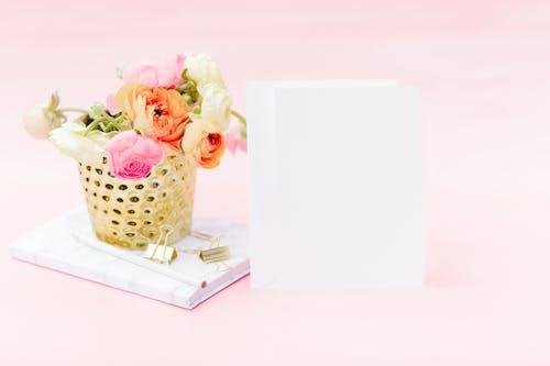 Pink Roses in White and Black Polka Dot Basket