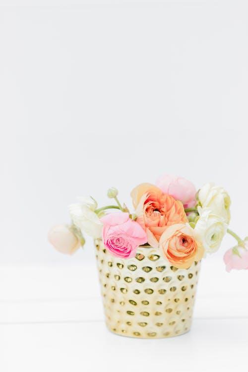 Pink and White Roses in White and Black Polka Dot Ceramic Vase
