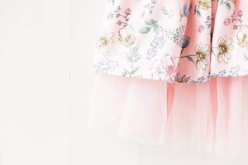 White Pink and Green Floral Skirt