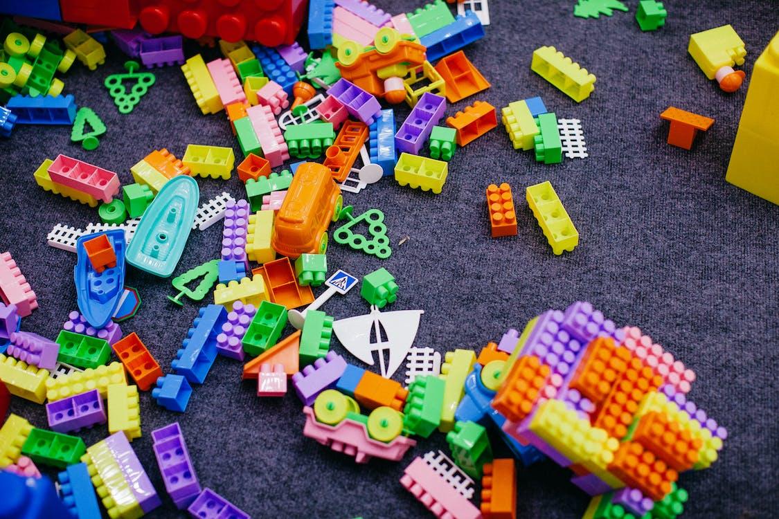 Green Orange and Blue Lego Blocks