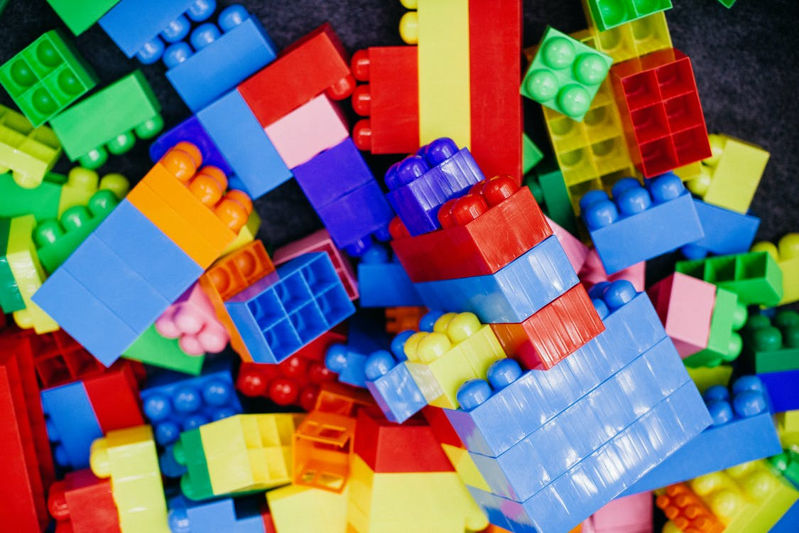 Blue Red Yellow and Green Plastic Blocks