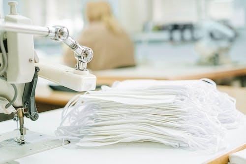 White Textile on White Ceramic Sink
