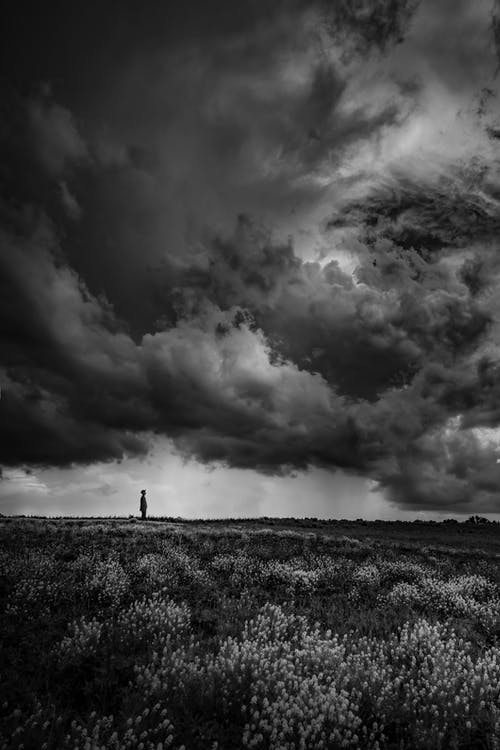 Grayscale Photo of Person Standing on Grass Field Under Cloudy Sky