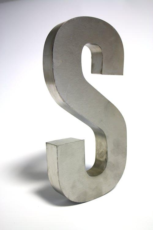 Gray Metal S Freestanding Letter