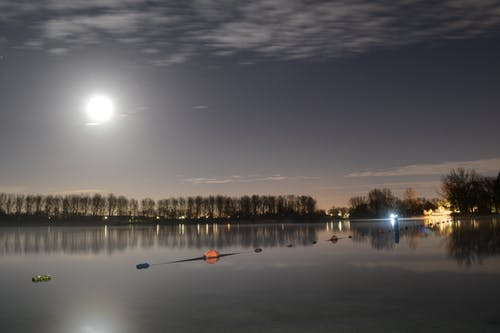 Free stock photo of calm waters, full moon, lakeside, netherlands