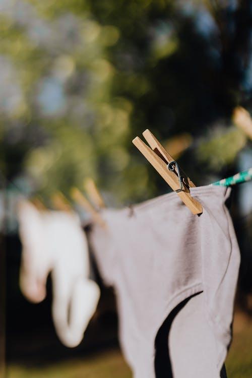 Underwear on rope in garden on sunny day