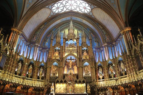 Altar with ornamental elements in Notre Dame basilica in Quebec