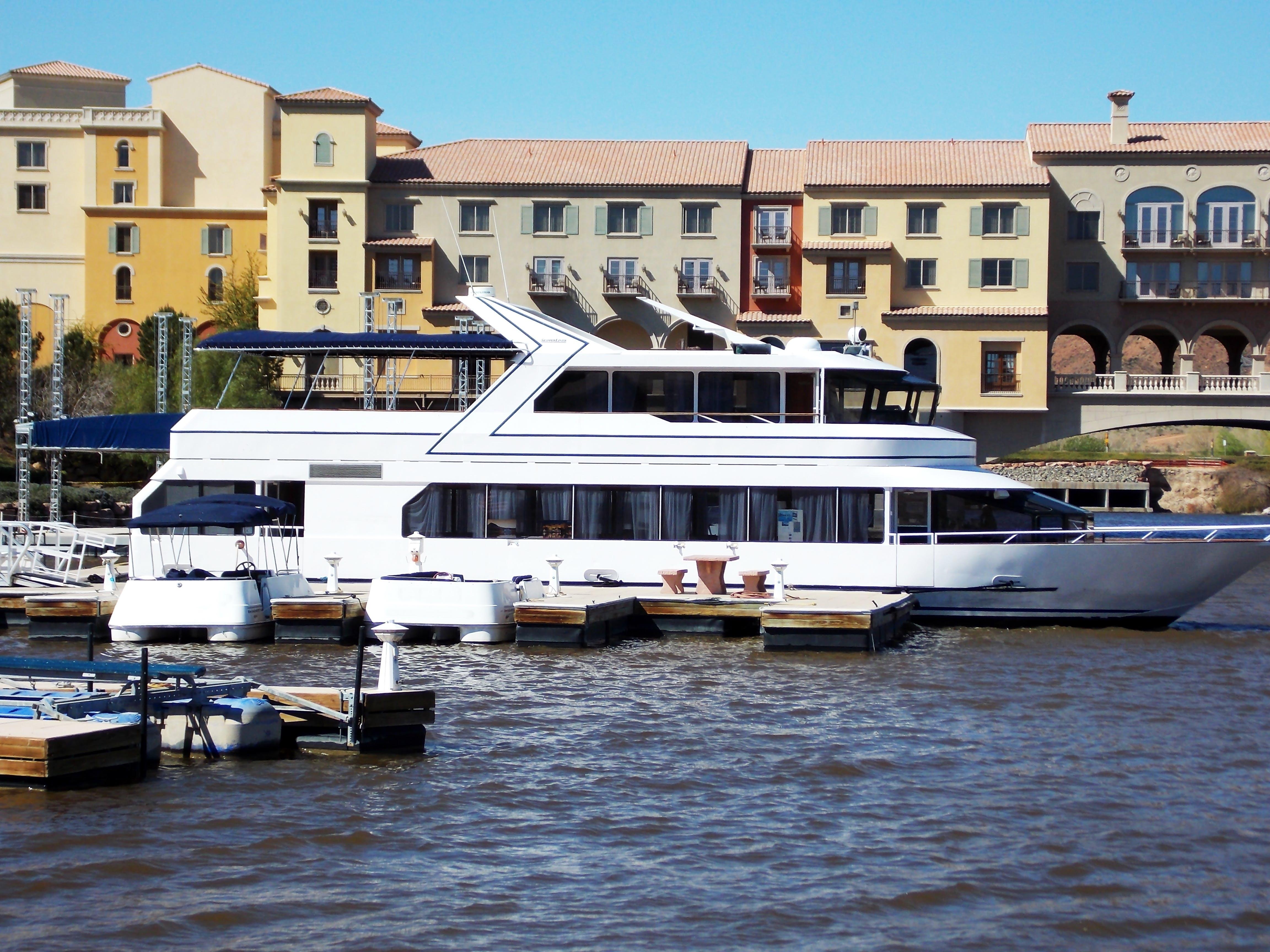 Docked White Yacht