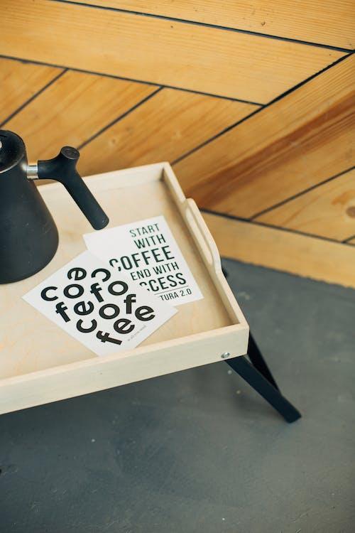 Black Ceramic Mug on White Tray