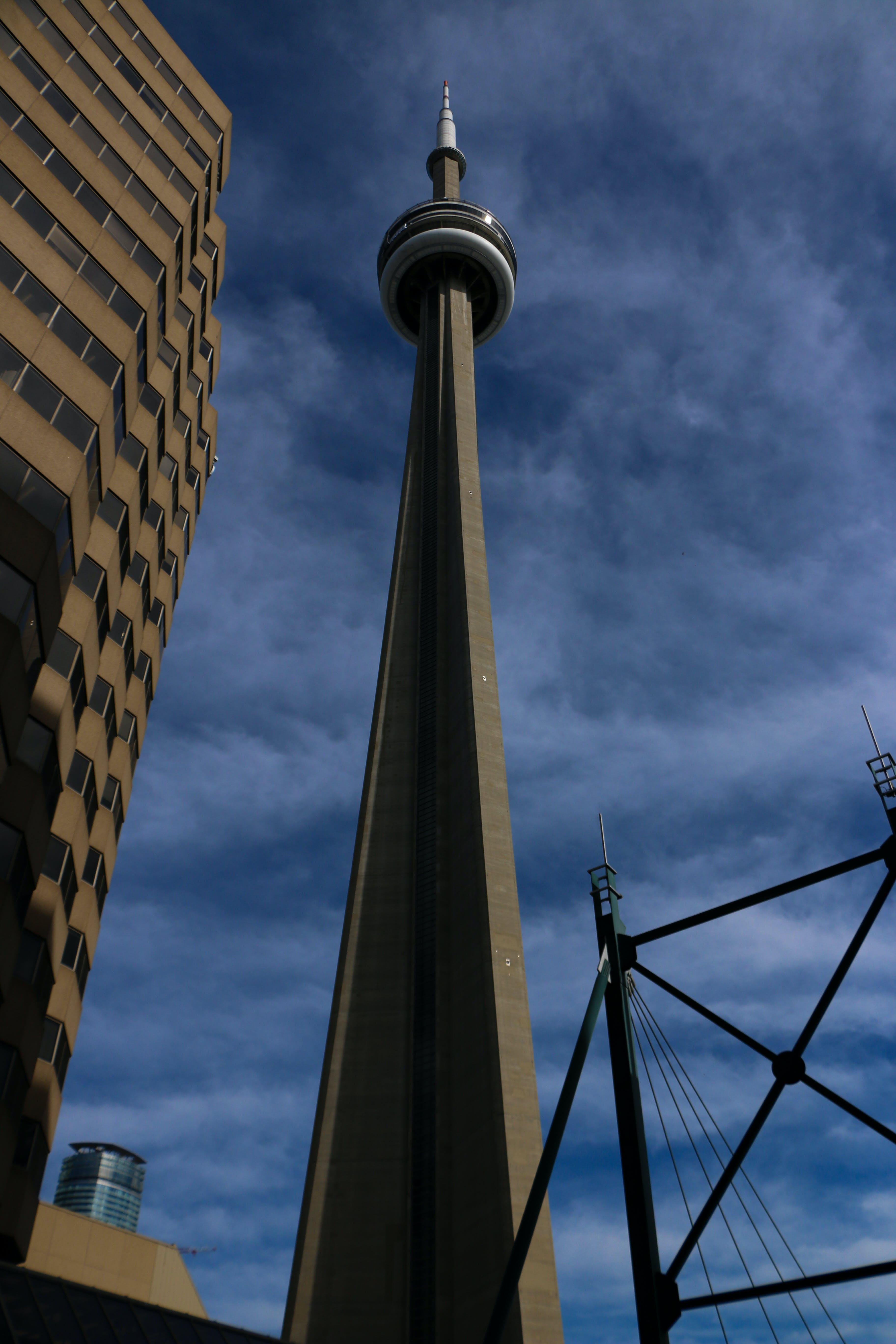 CN 타워, 캐나다, 토론토, 푸른 하늘의 무료 스톡 사진