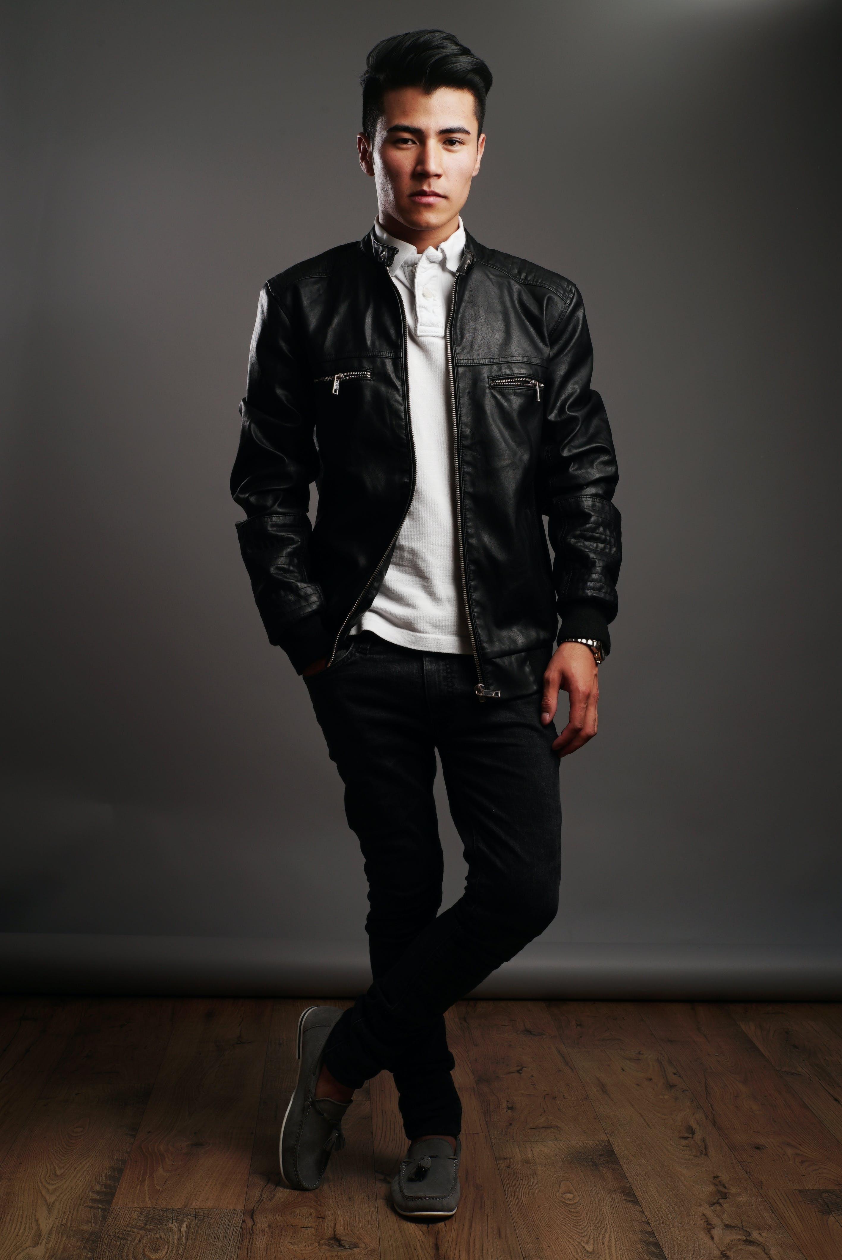 Free stock photo of adult, black leather jacket, contemporary, fashion