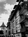 black-and-white, city, buildings