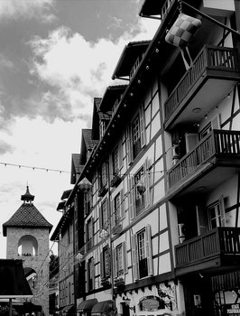 Free stock photo of black-and-white, city, buildings, balcony