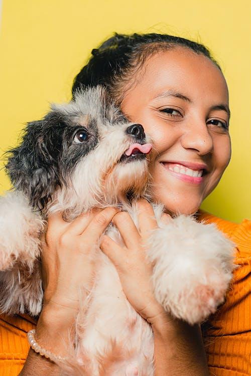 Happy ethnic woman embracing adorable dog on yellow background