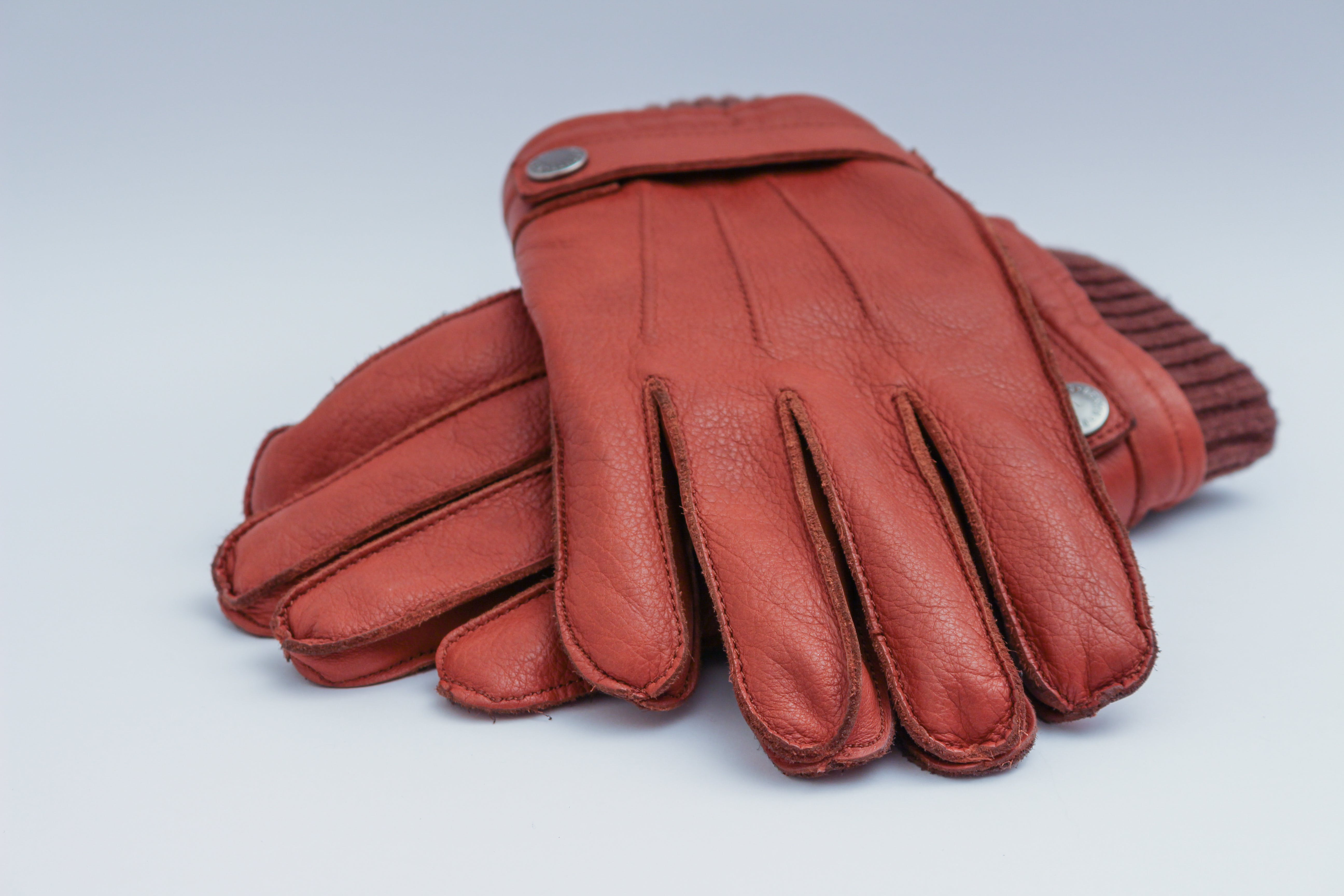 Pair of Brown Leather Gloves Illustration