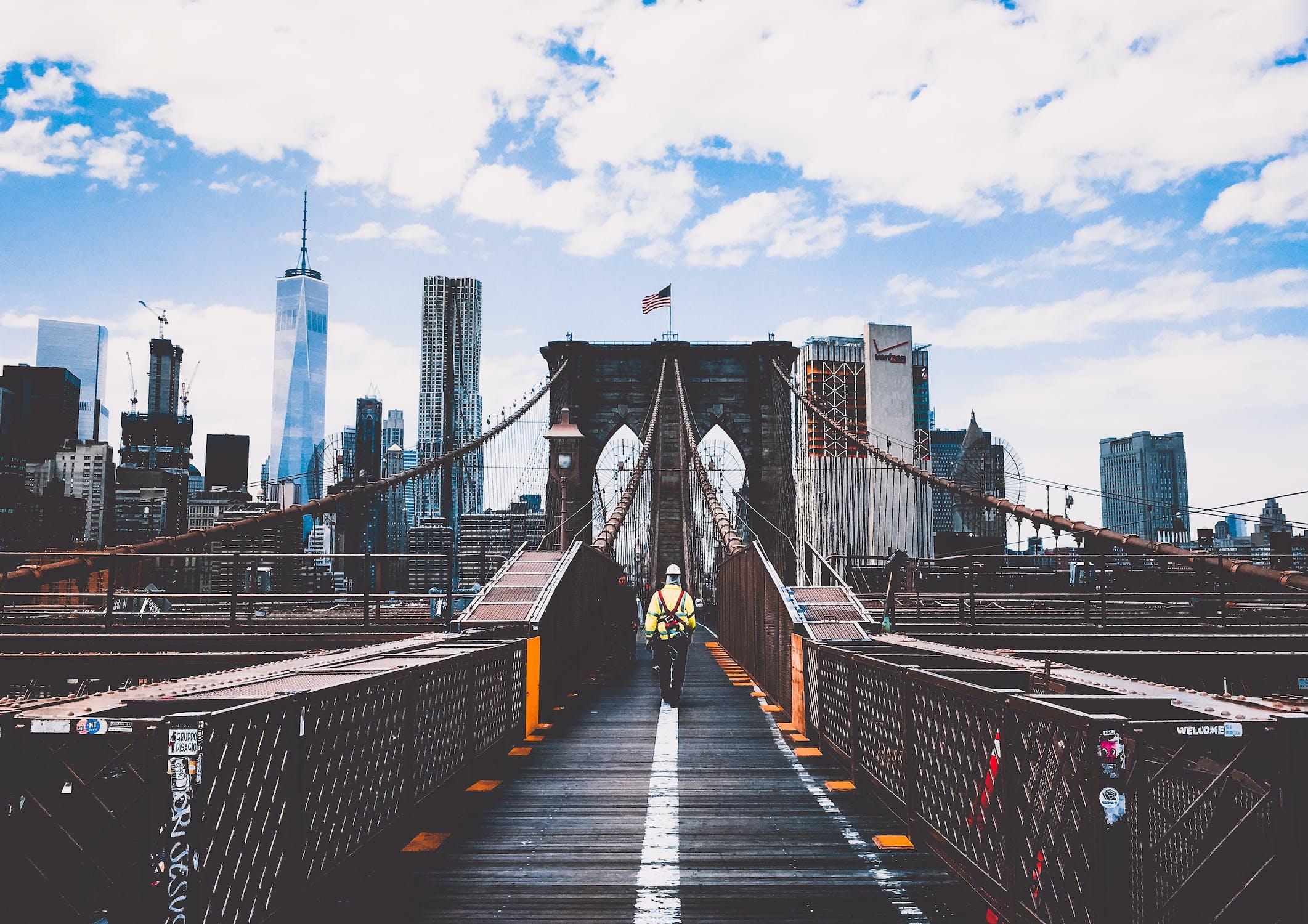 A man walking into New York City