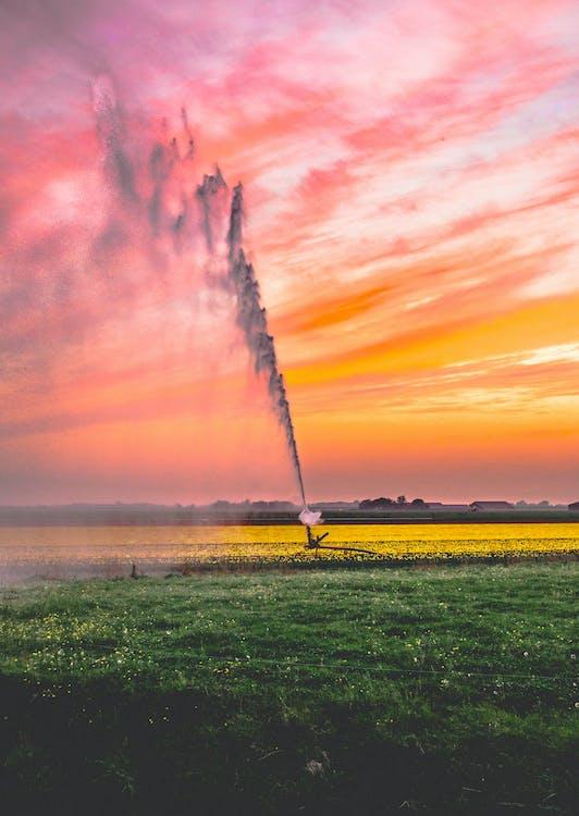 Imagine de stoc gratuită din apă, apă de aspersoare, apus