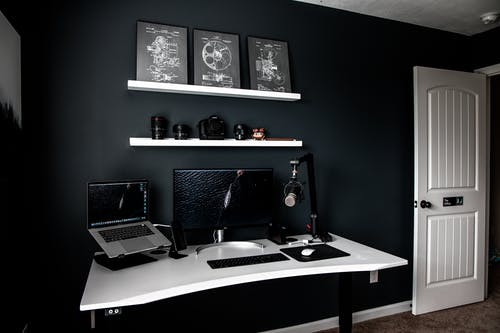 Interior of room with contemporary style workplace at home