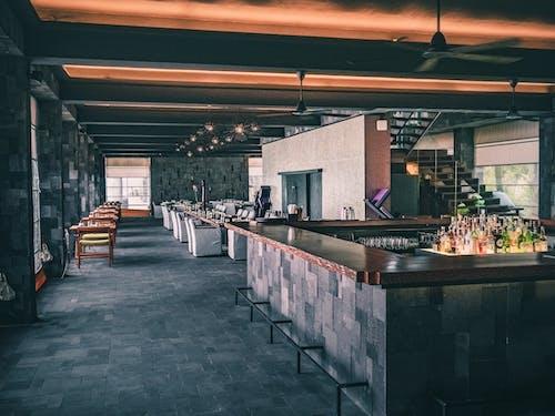 Modern interior of restaurant in dark tones