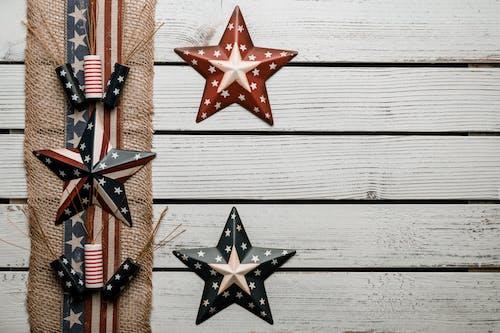 Ribbon of national USA flag style on plank white desk