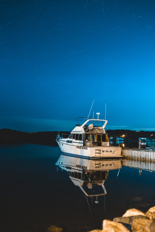 Photo of Fishing Boat on Dock During Night Time
