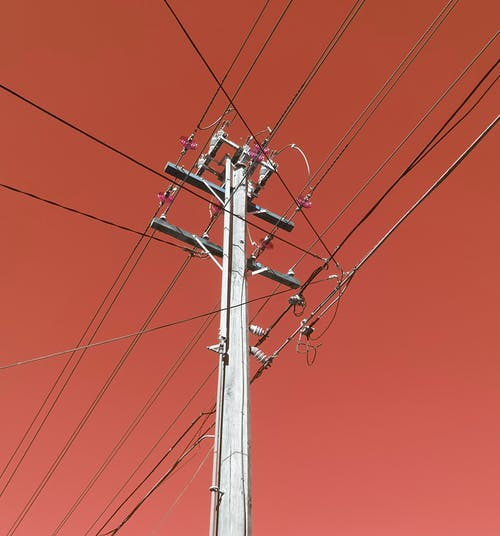 Free stock photo of power lines, power pole, red background