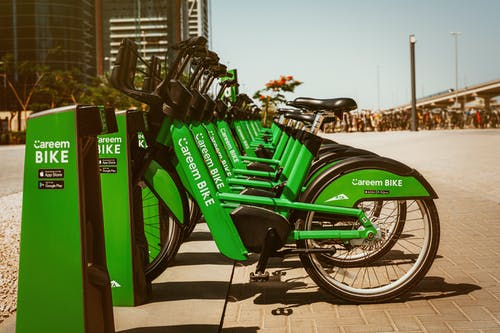 Photo of Green Bicycles Parked
