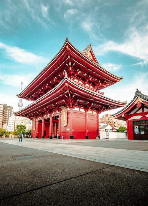Traditional old Buddhist shrine against blue sky
