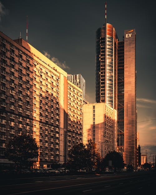 Photo of Buildings During Golden Hour