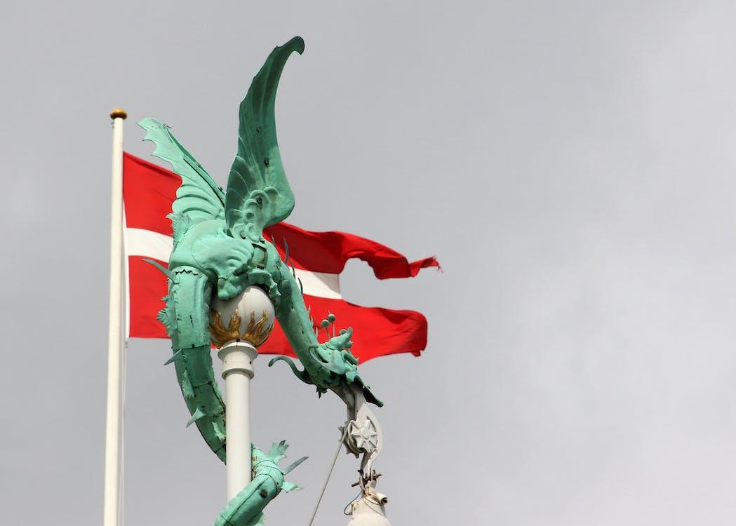 auf, dänemark, dänemark flagge