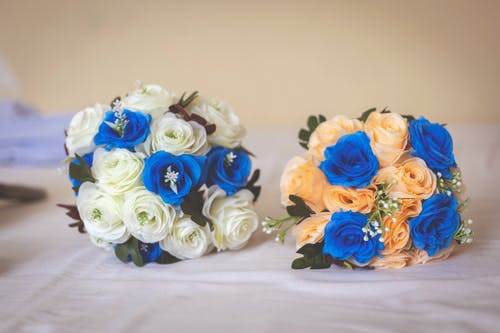 Blue and Orange Flower Bouquet