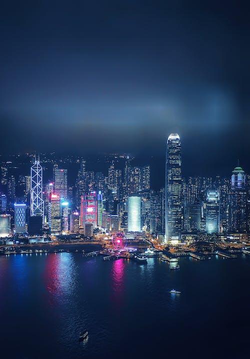 Kostnadsfri bild av arkitektur, blå natt, byggnader, drönarbilder