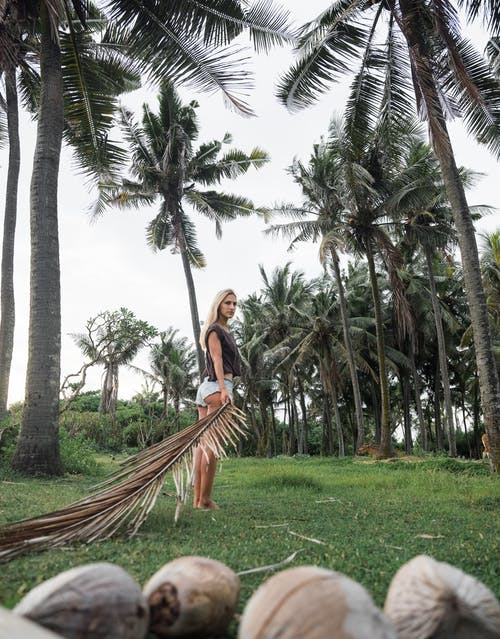 Woman Standing on Grass Field While Holding Dry Palm Leaf