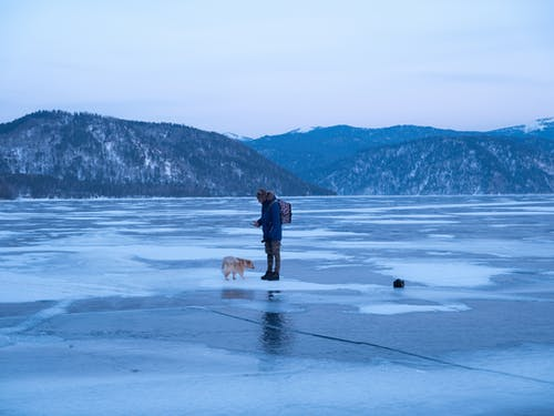 Side view of unrecognizable male in warm outerwear standing on frozen lake with cute dog during winter holidays