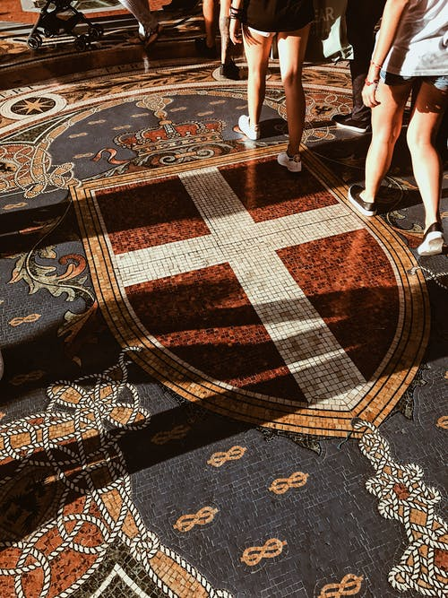 Mosaic floor with coat of arms of Milan