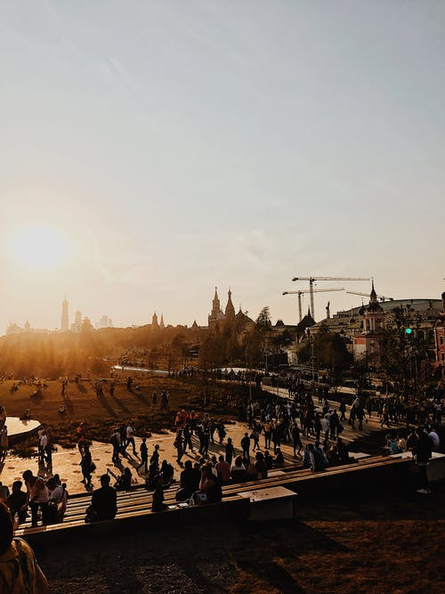 People on Park during Sunset