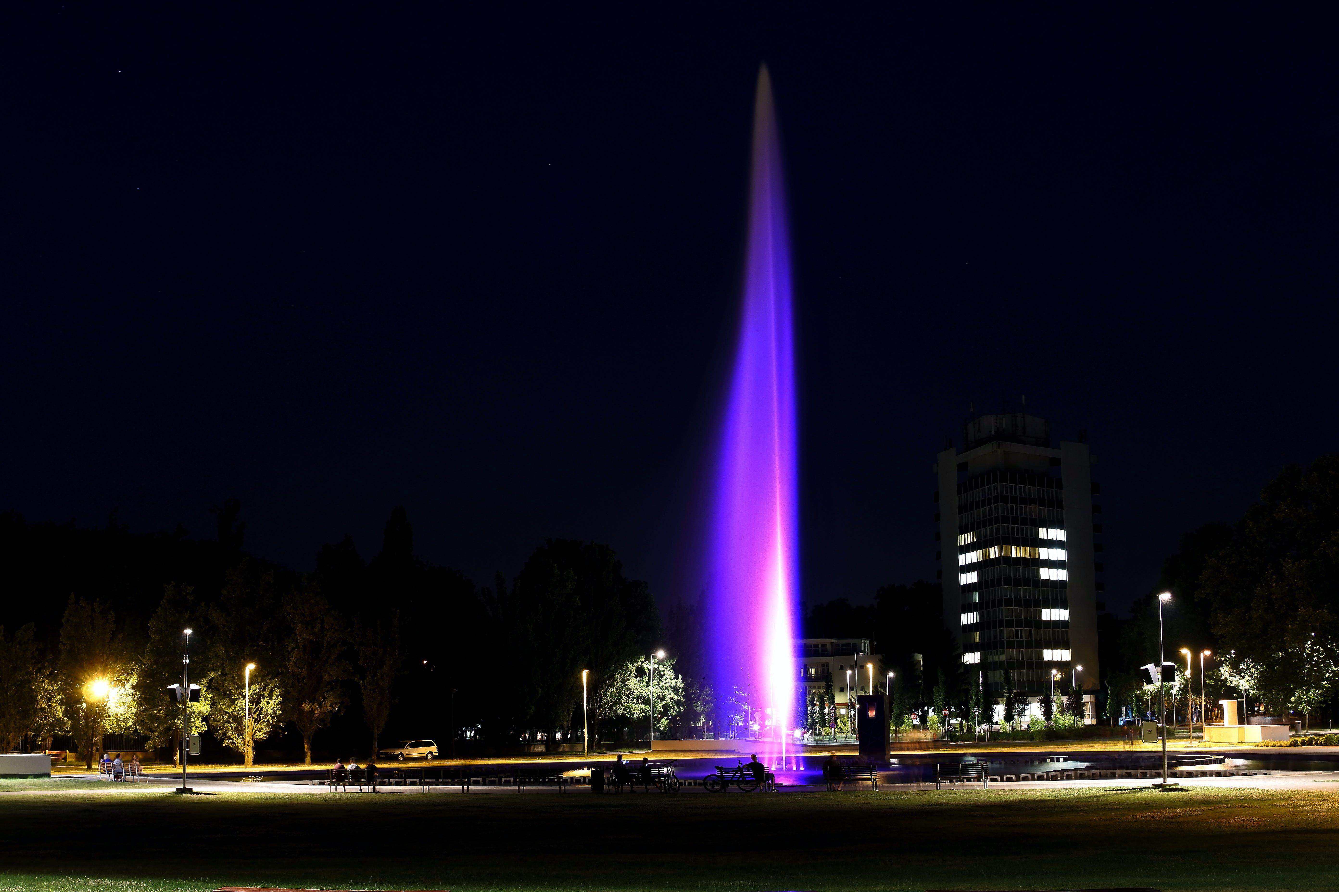 Fountain With Purple Lights