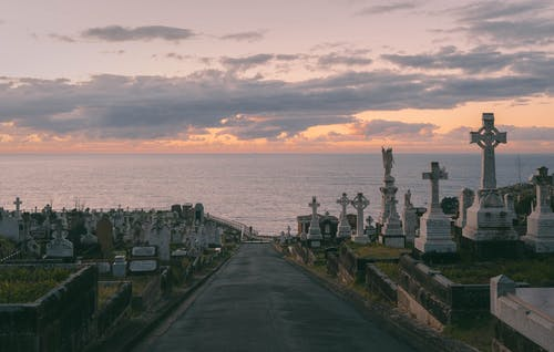 Free stock photo of beautiful colours, calm, cemetery, clouds