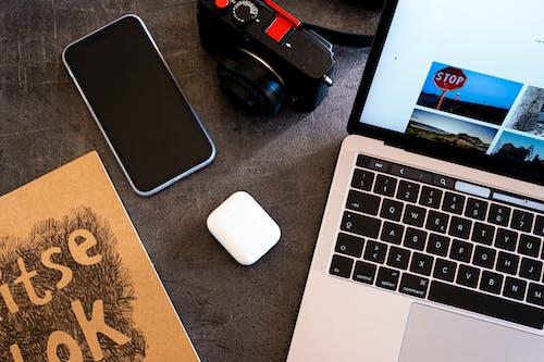 Free stock photo of attrezzatura fotografica, fujifilm, home office, iphone