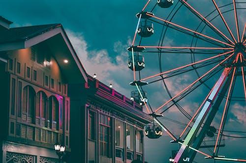 Illuminated ferris wheel in amusement park