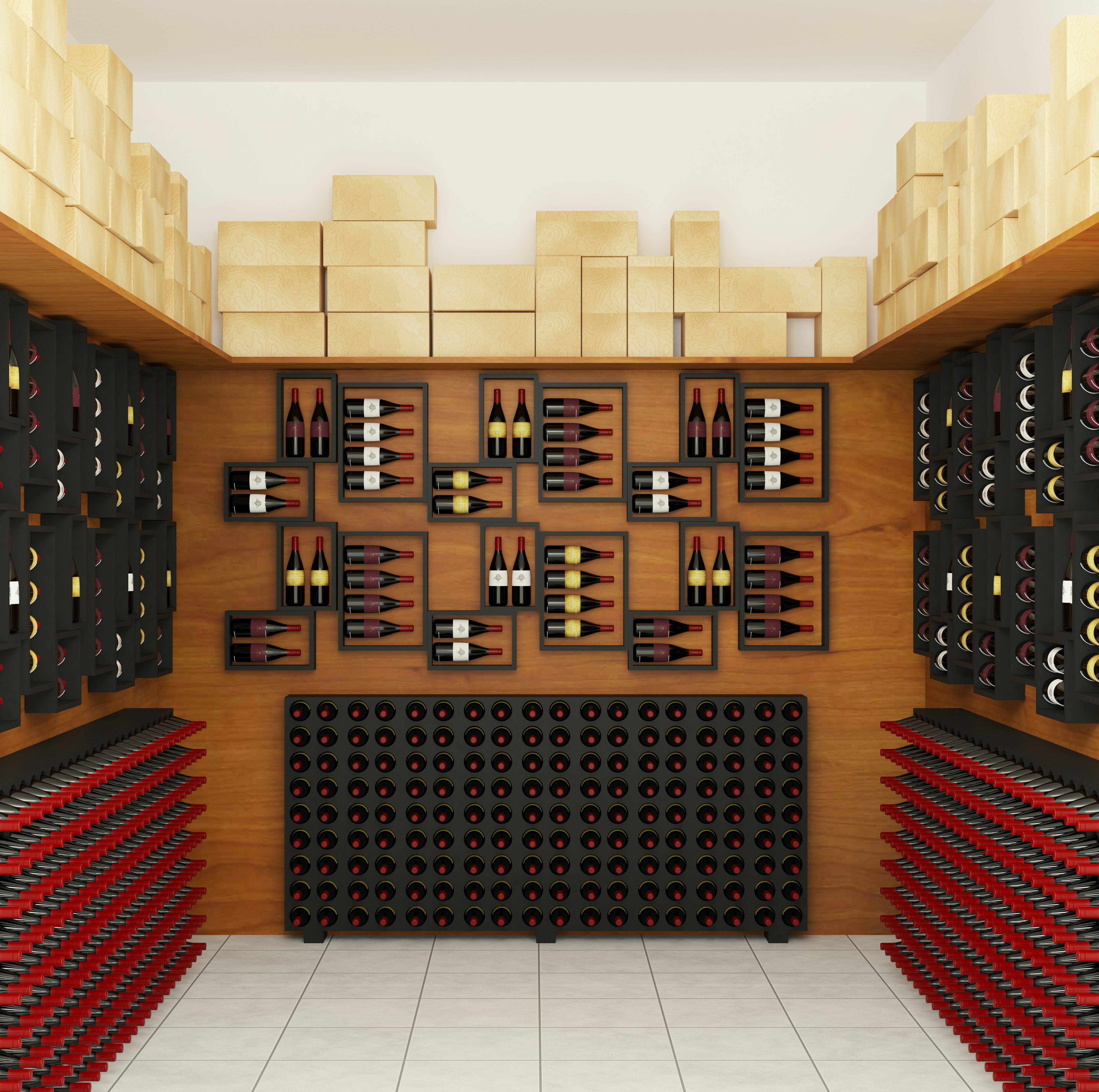 Black Wooden Wine Shelves on Brown Wall